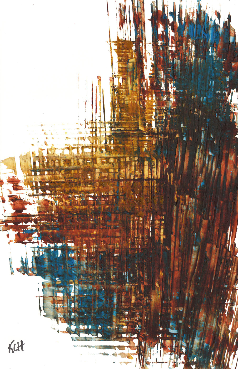 contemporary modern painting abstract burnt blue and gold original painting