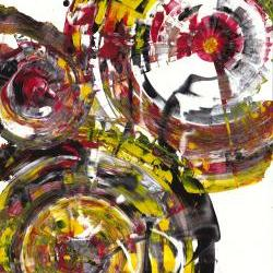 Original Abstract Painting - Modern Art - Rich Round Red and Yellow Spherical Joy 842.120911